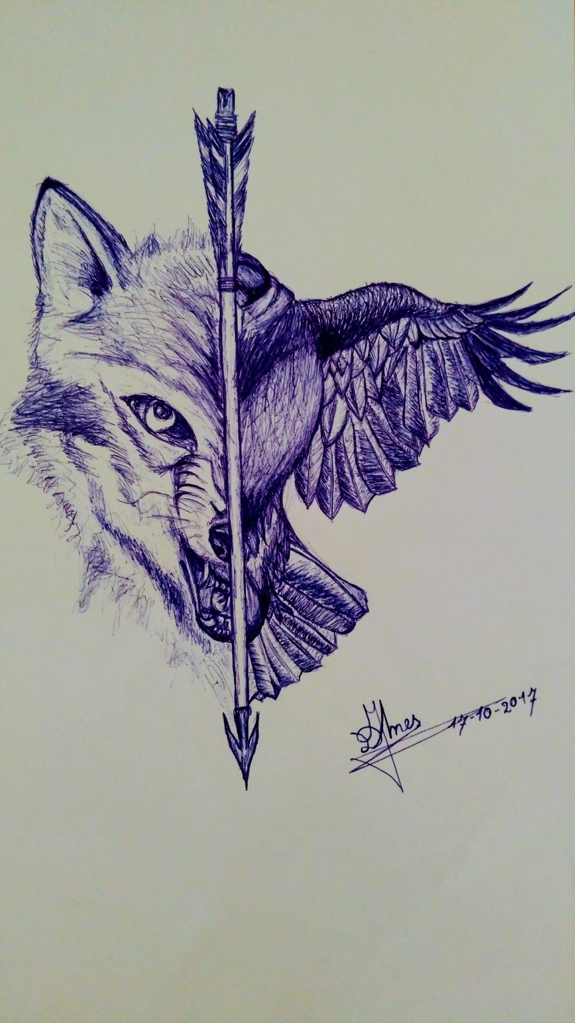 Boardness During Work And Possible New Tattoo Wolf Crow Arrow