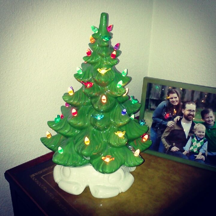LOVE my ceramic trees!  Thank You @Thrift Town for this AWESOME addition to our collection! Complete with birdy lights!!! ♥