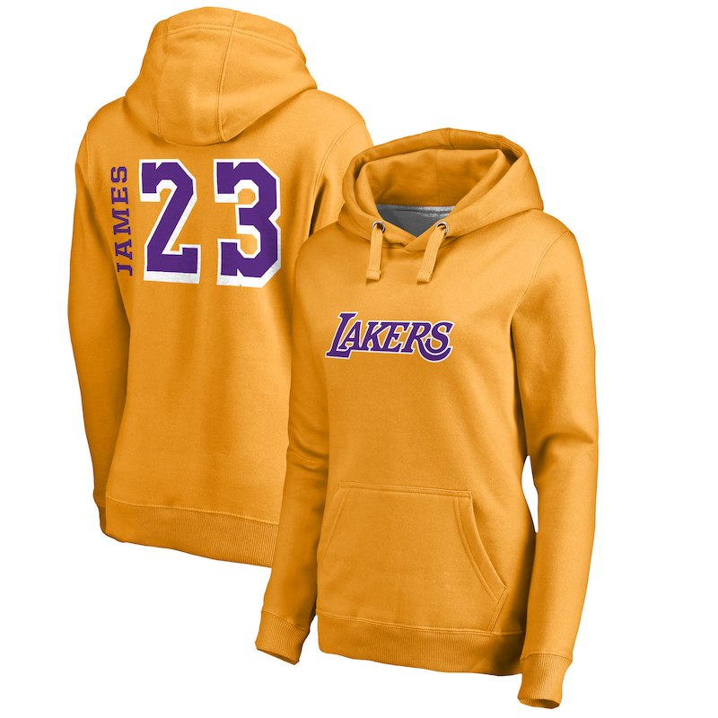 LeBron James Los Angeles Lakers Fanatics Branded Women s Sidesweep Name    Number Pullover Hoodie – Gold 5baf4f006