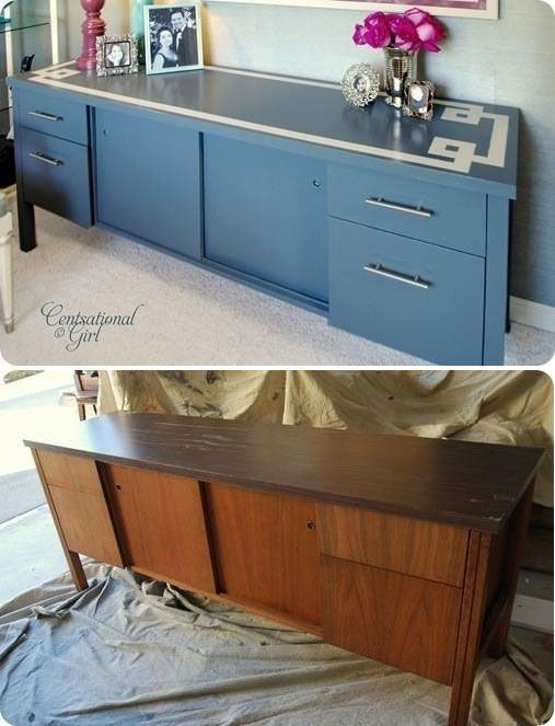 "DIY - Credenza Redo - Full Step-by-Step Tutorial with ""How to paint Laminate"" using Zinsser Primer Cover"