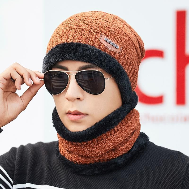 e6d5ff67bb7 Mens Winter Windproof Multipurpose Knit Hat Brimless Beanie Cap Plus Neck  Warmer
