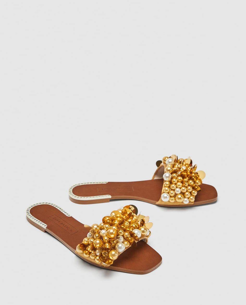001b6c81ec7 BEADED SLIDES WITH PEARL BEADS-View all-SHOES-WOMAN