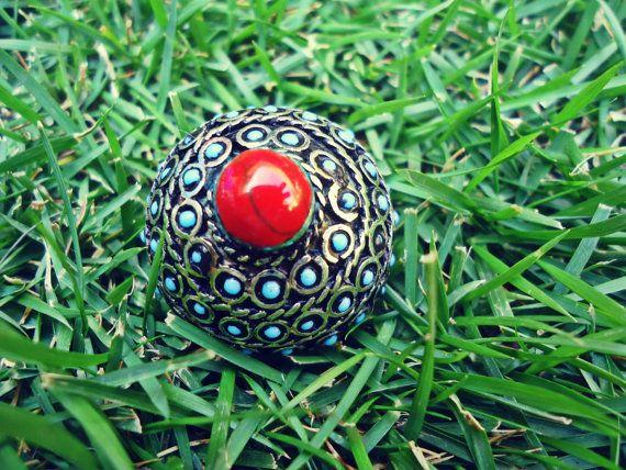 FREE Shipping Vintage Turquoise Stone Ring от ZamarutJewel на Etsy, $58.00
