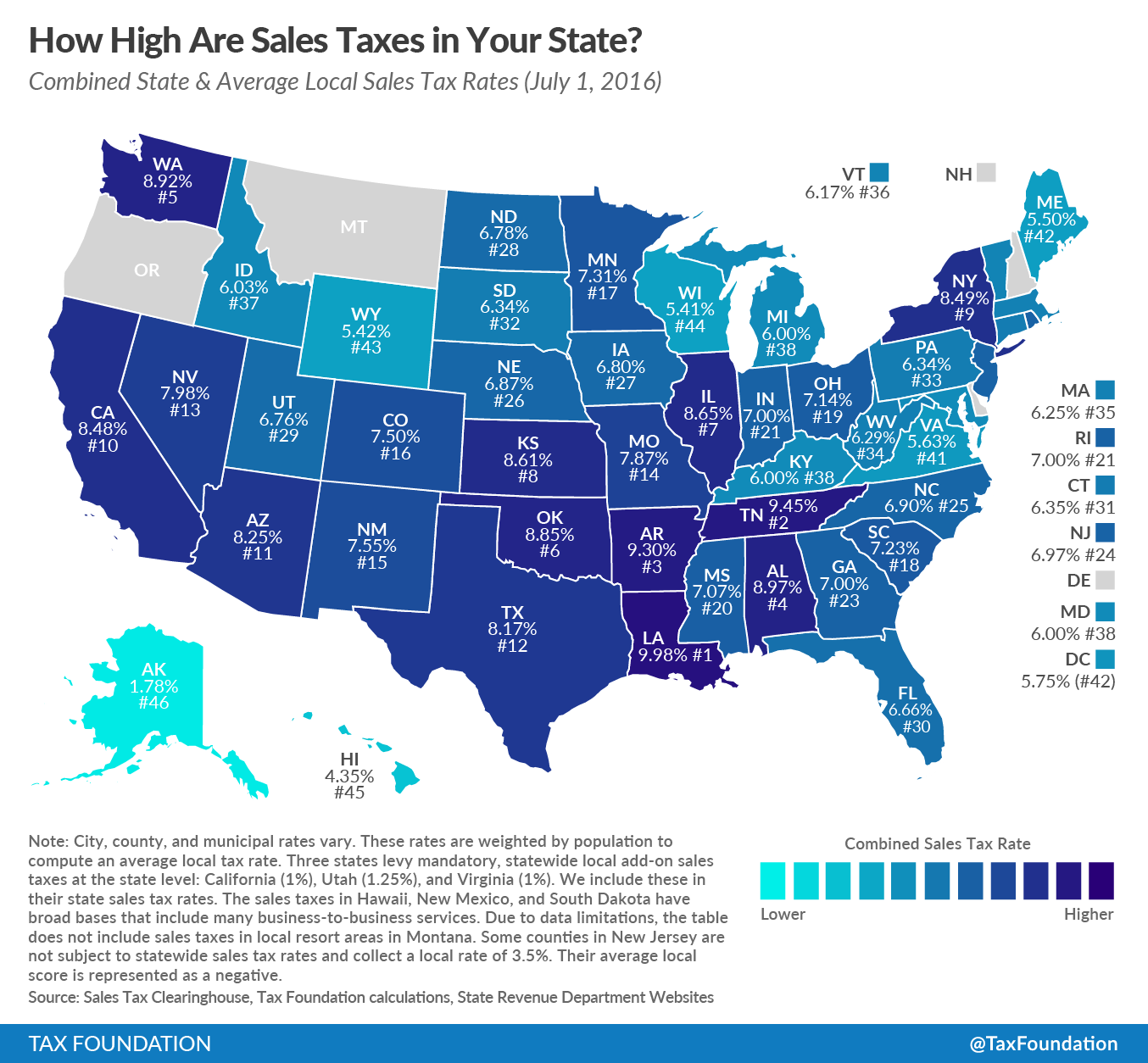 How High Are Sales Taxes In Your State Tax Rate Tax Free States Income Tax