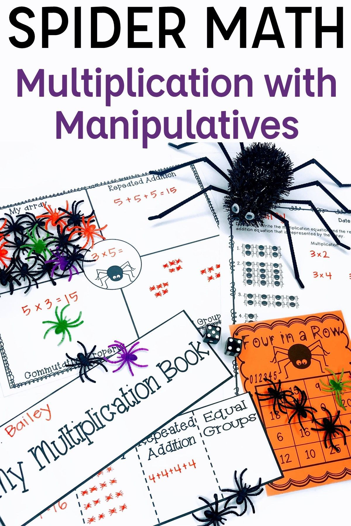 Multiplication With Manipulatives Halloween Spider Math