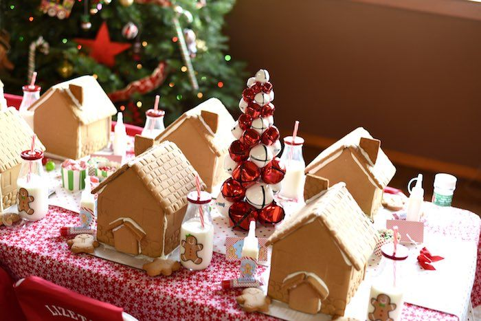 Superior Christmas Eve Party Ideas Part - 8: Gingerbread Houses From A Gingerbread Decorating Holiday Christmas Party On  Karau0027s Party Ideas | KarasPartyIdeas.