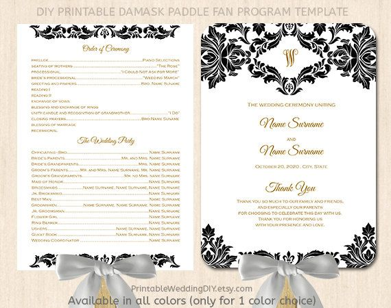 Black And White Damask Paddle Fan Program Template