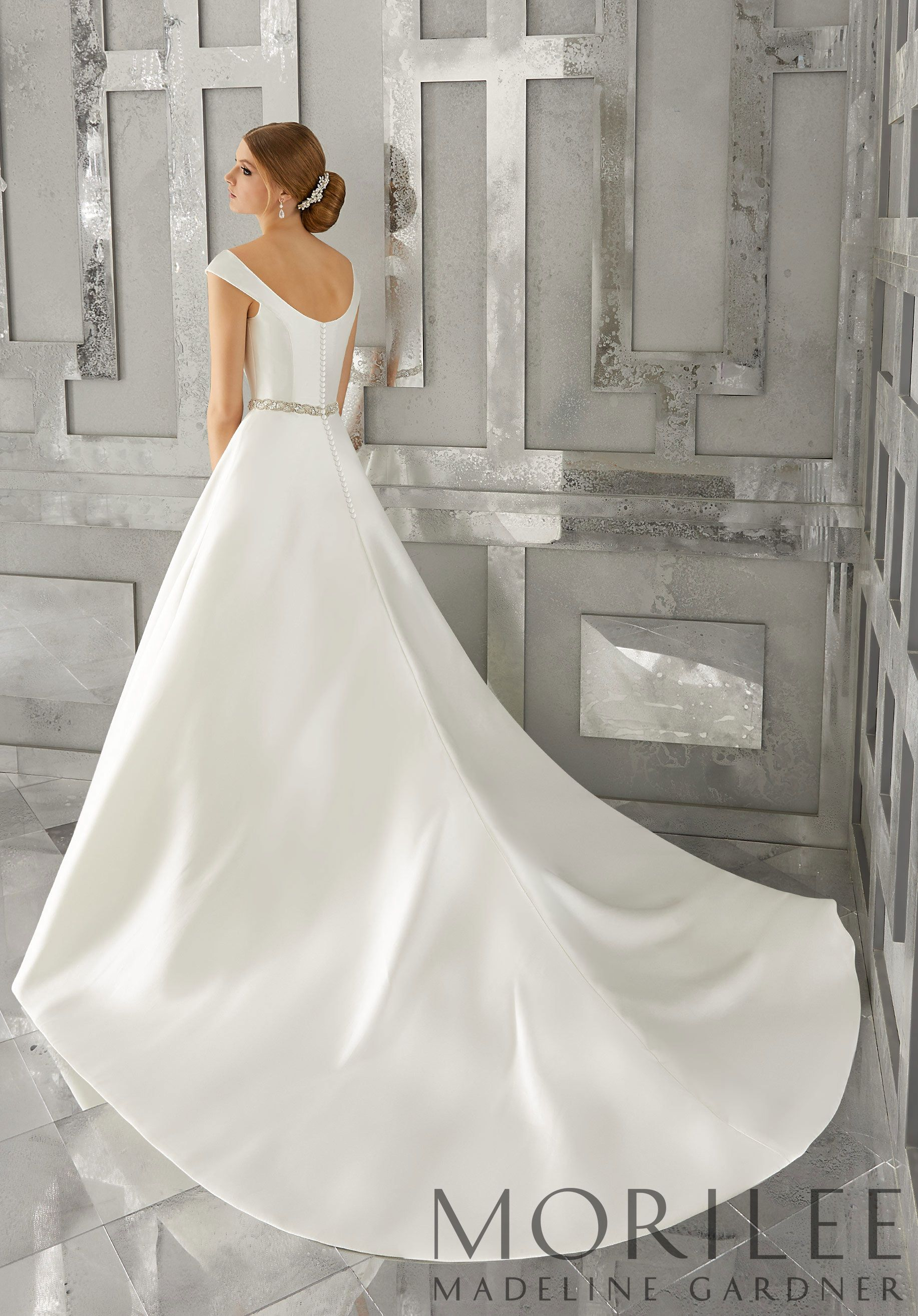 e1bda1cce Morilee | Madeline Gardner, Marquesa Bridal Gown. Classic, Chic, and  Modern, This Marcella Satin A-Line Wedding Dress Features an Elegant  Off-the Shoulder ...