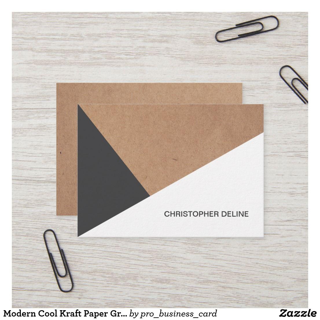 Modern Cool Kraft Paper Grey White Geometric Business Card Zazzle Com Elegant Business Cards Cards Kraft Paper