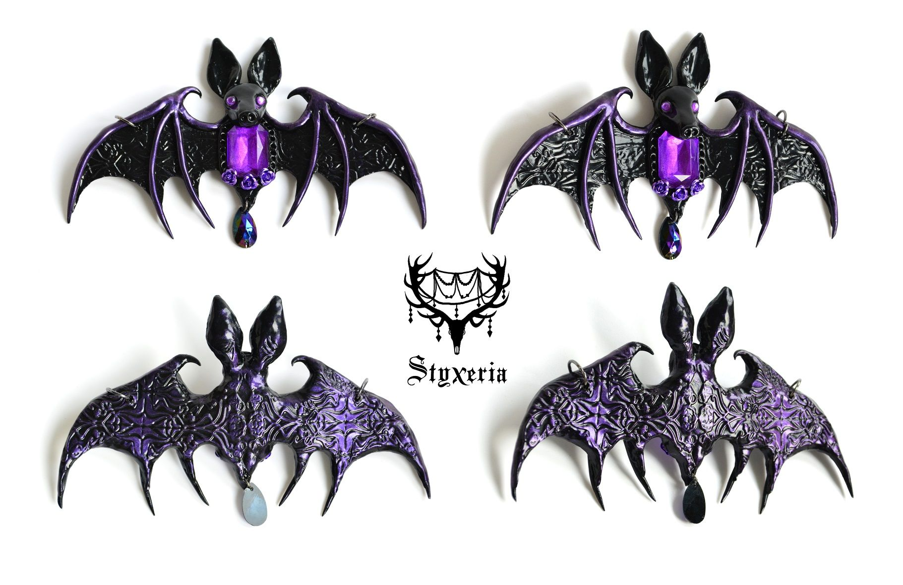 Halloween Necklace Polymer Clay Vampire Bat Necklace Animal Necklace Vampire Bats Handmade Animal Jewelry Bats Halloween Jewelry