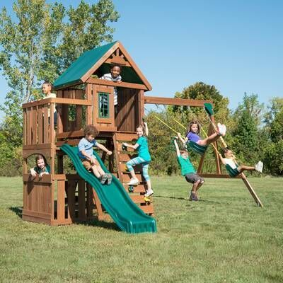 Tanglewood All Cedar Swing Set   Play swing set, Swing and ...