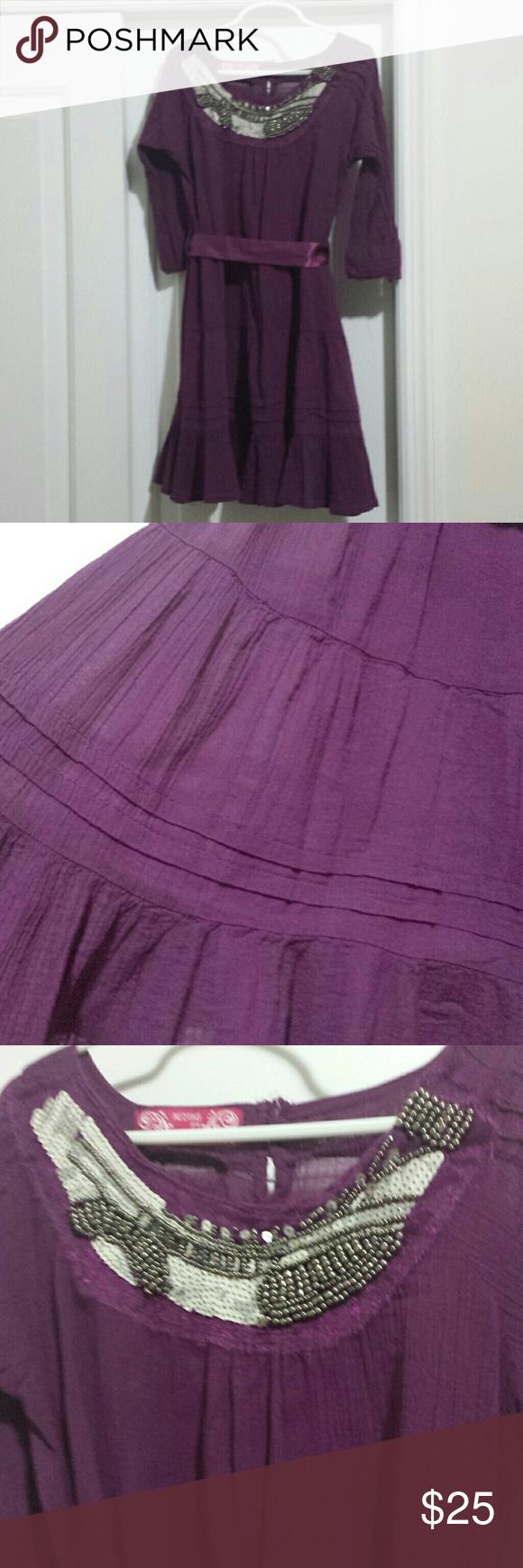 Little girls beaded boho dress beautiful dark purple dress for a