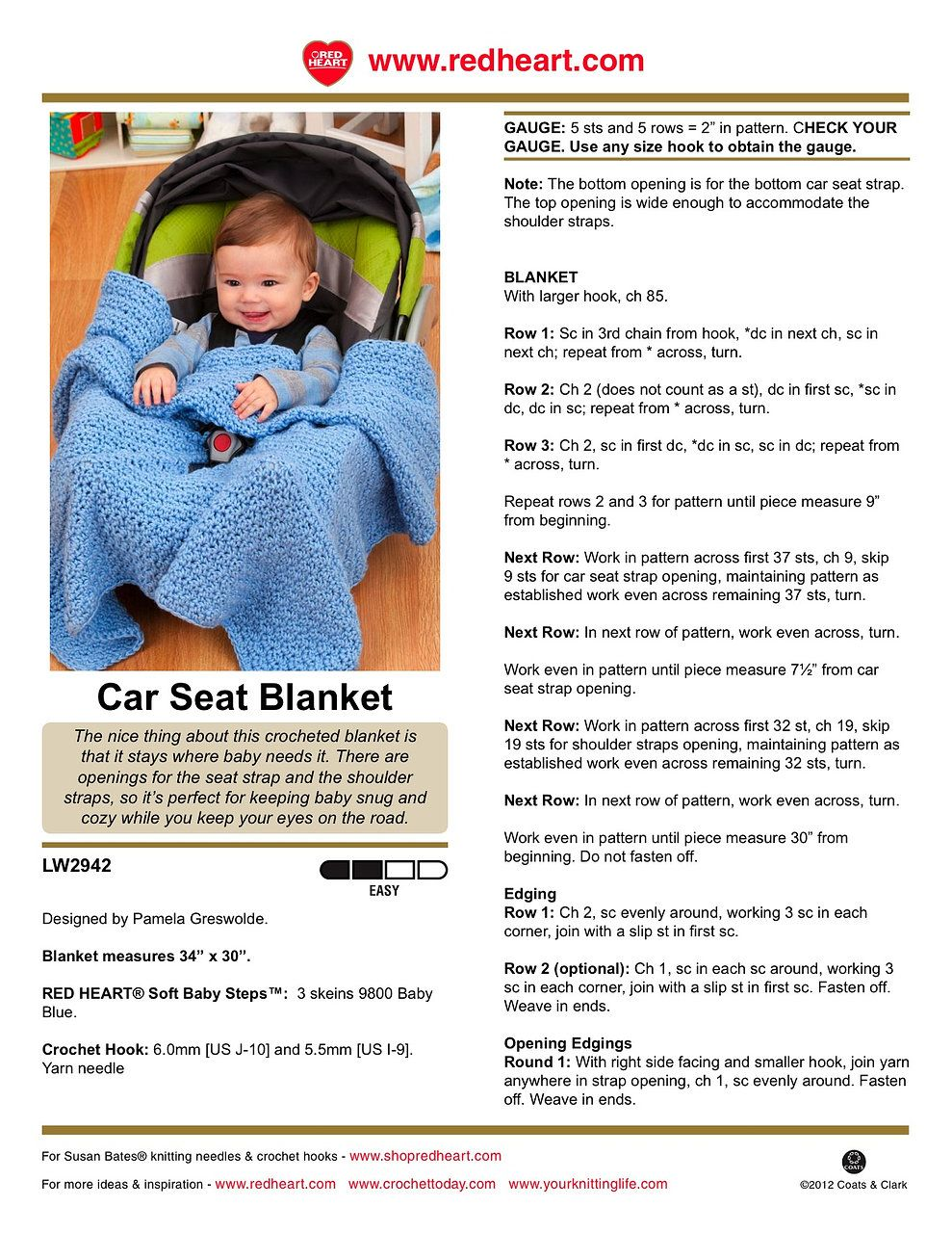 Car seat blanket crochet pattern crochet blankets pinterest baby car seat blanket free crochet pattern made with worsted weight yarn bankloansurffo Gallery