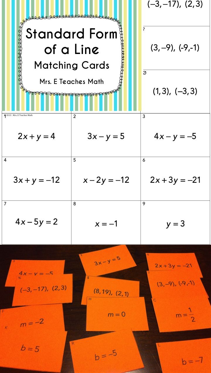 Linear equations card sort algebra activities standard form and standard form of a line matching cards great algebra activity algebra writing linear equations chapter 5 falaconquin