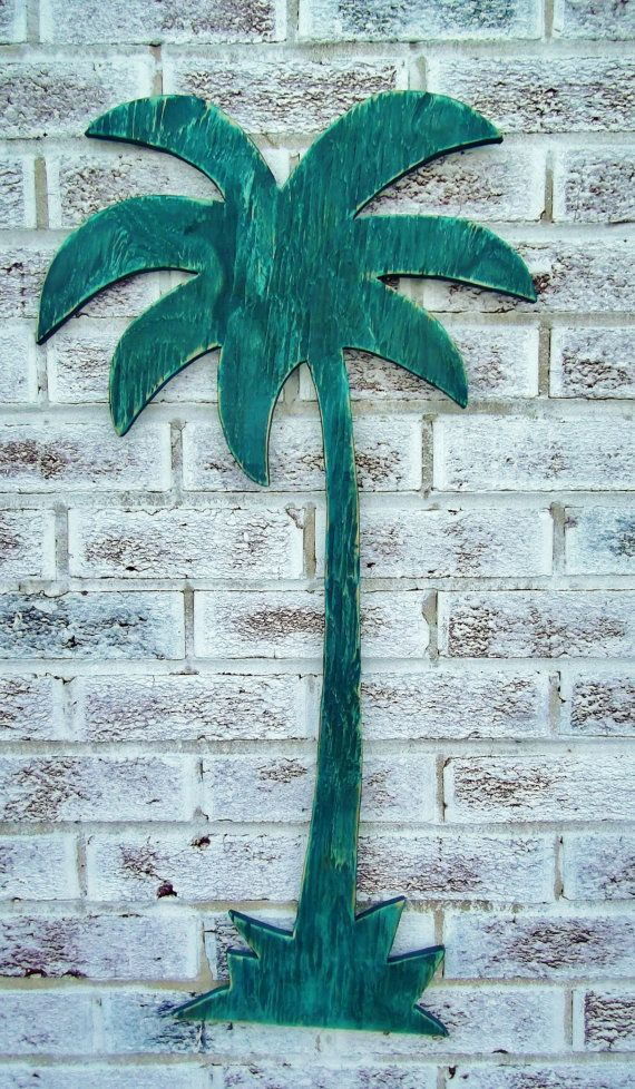 "Swimming Pool Plaques Signs Wall Decor Interesting Palm Tree Sign Large 31"" Wood Cut Out Wall Art For Beach House 2018"
