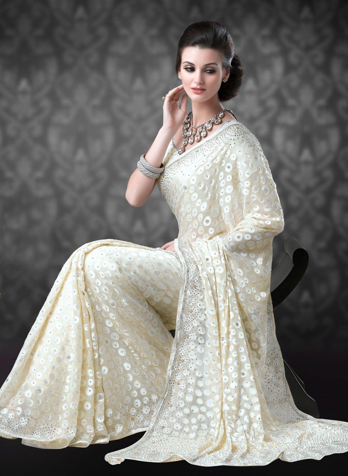 Photo of Wedding Saree  … Sarees > Workmanship > Zari Work Sarees > Cream Brasso Weddin…