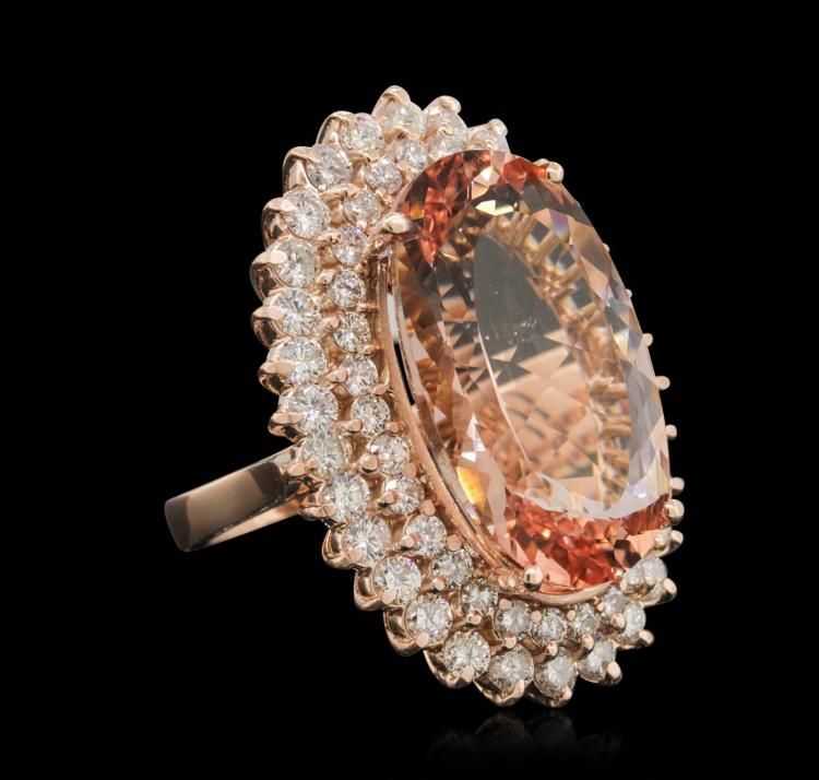 14KT Rose Gold 22.46ct Morganite and Diamond Ring - by Seized Assets Auctioneers