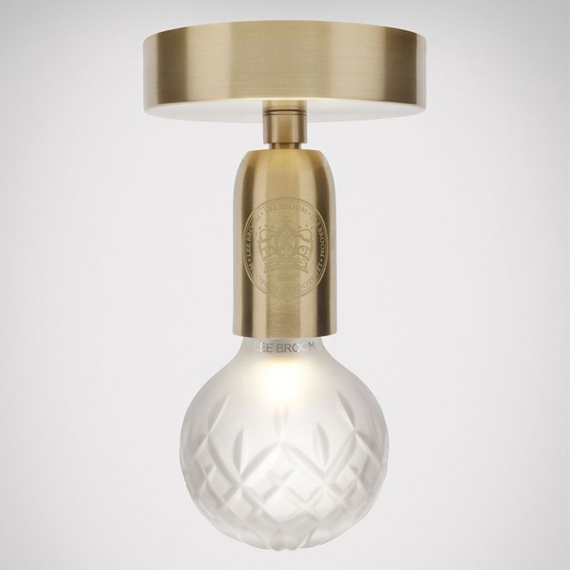The Crystal Bulb Flush Mount Ceiling Light Is Available In A Brass Finish With Clear Or Frosted Lamps The B Ceiling Lights Frosted Lamp Ceiling Light Fixtures