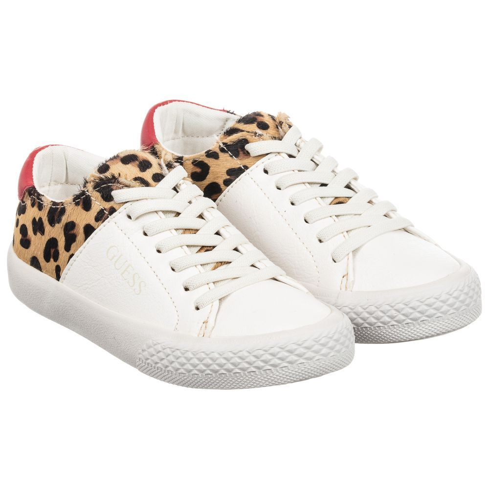 White \u0026 Leopard Print Trainers for Girl