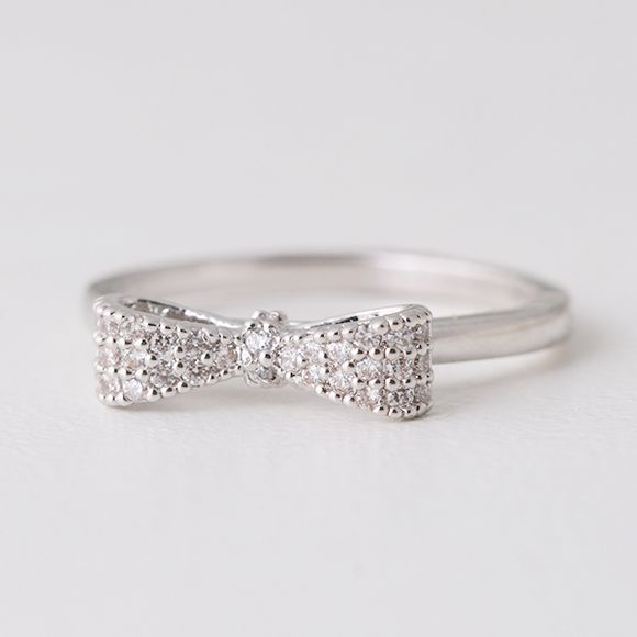Pave White Gold Bow Ring Sterling Silver from kellinsilver.com