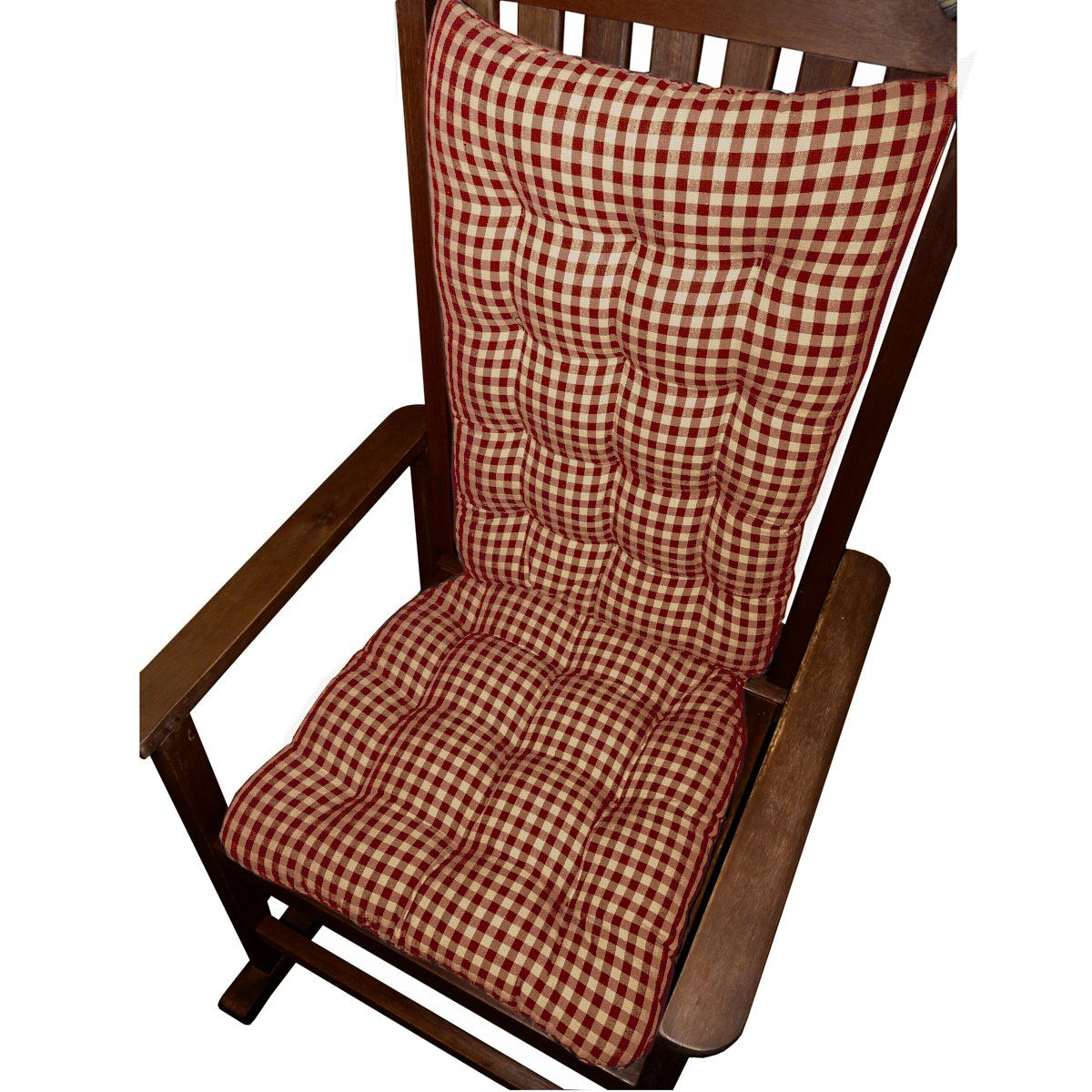 Rocking Chair Cushions Checkers Red and Tan Size Standard