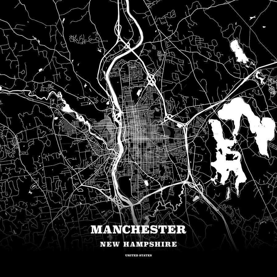 Black map poster template of Manchester, New Hampshire, USA ...