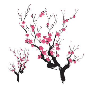 Cherry blossom silhouette | Asian Cherry Blossoms Temporary Tattoo ...