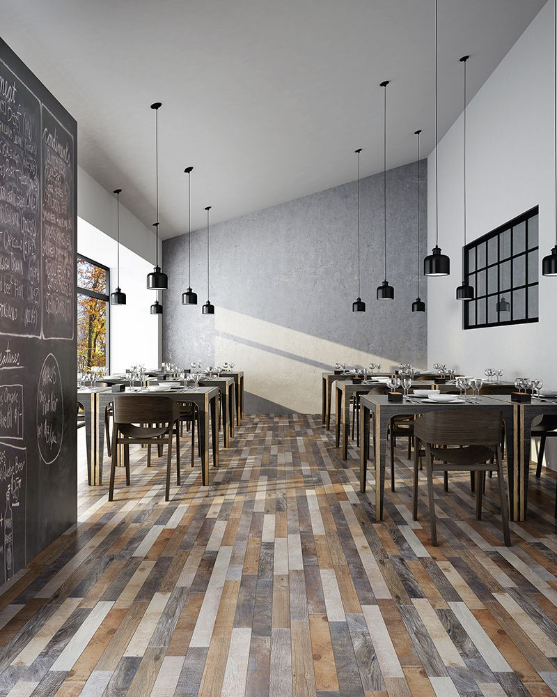 Eclectic Hardwood Porcelain Tile Flooring In A Restaurant Space