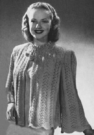 Bedjacket Sweater With Bell Sleeves Vintage Knitting Pattern For