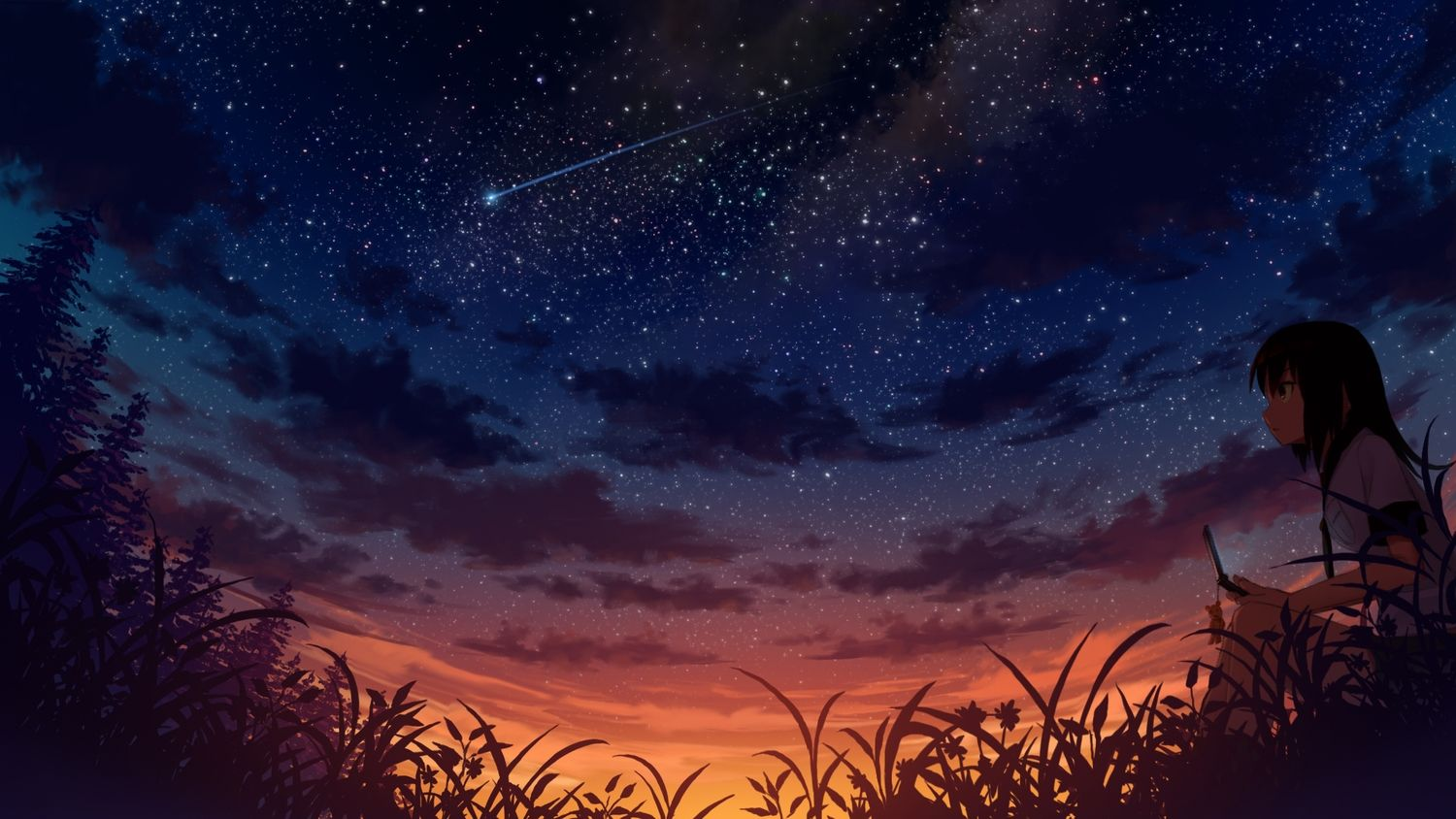 Girl watching the sunset wallpaper - Anime wallpapers - #30679