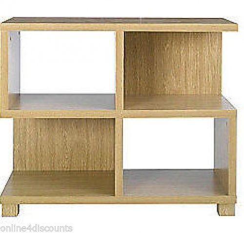 Low Oak effect Bookcase Shelf Display Unit 4 Cubes Shelves Stylish design | eBay