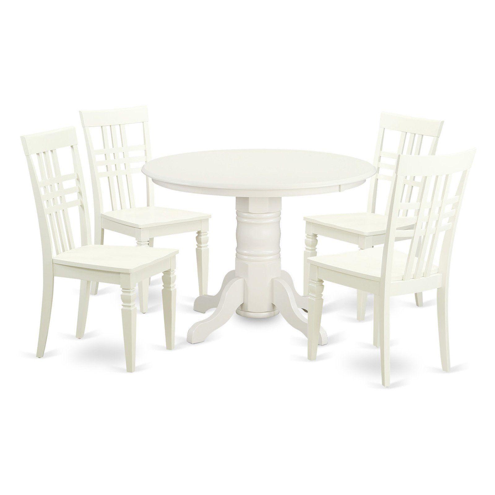 East West Furniture Shelton 5 Piece Latticeback Dining Table Set