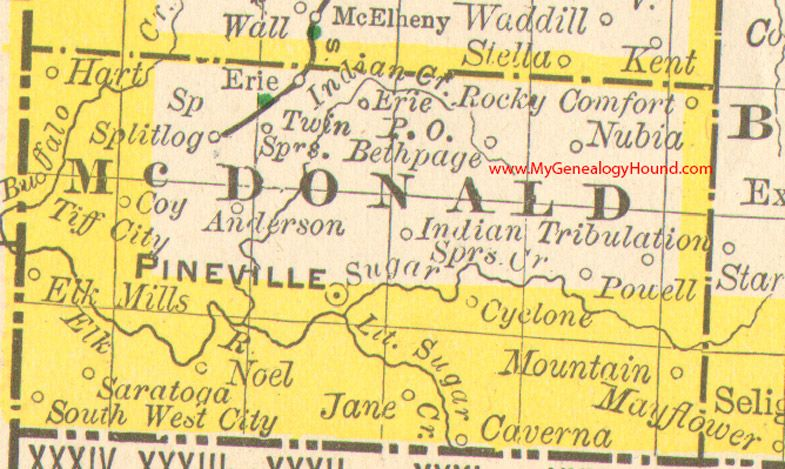 Mcdonald County Missouri 1890 Map Pineville Rocky Comfort South