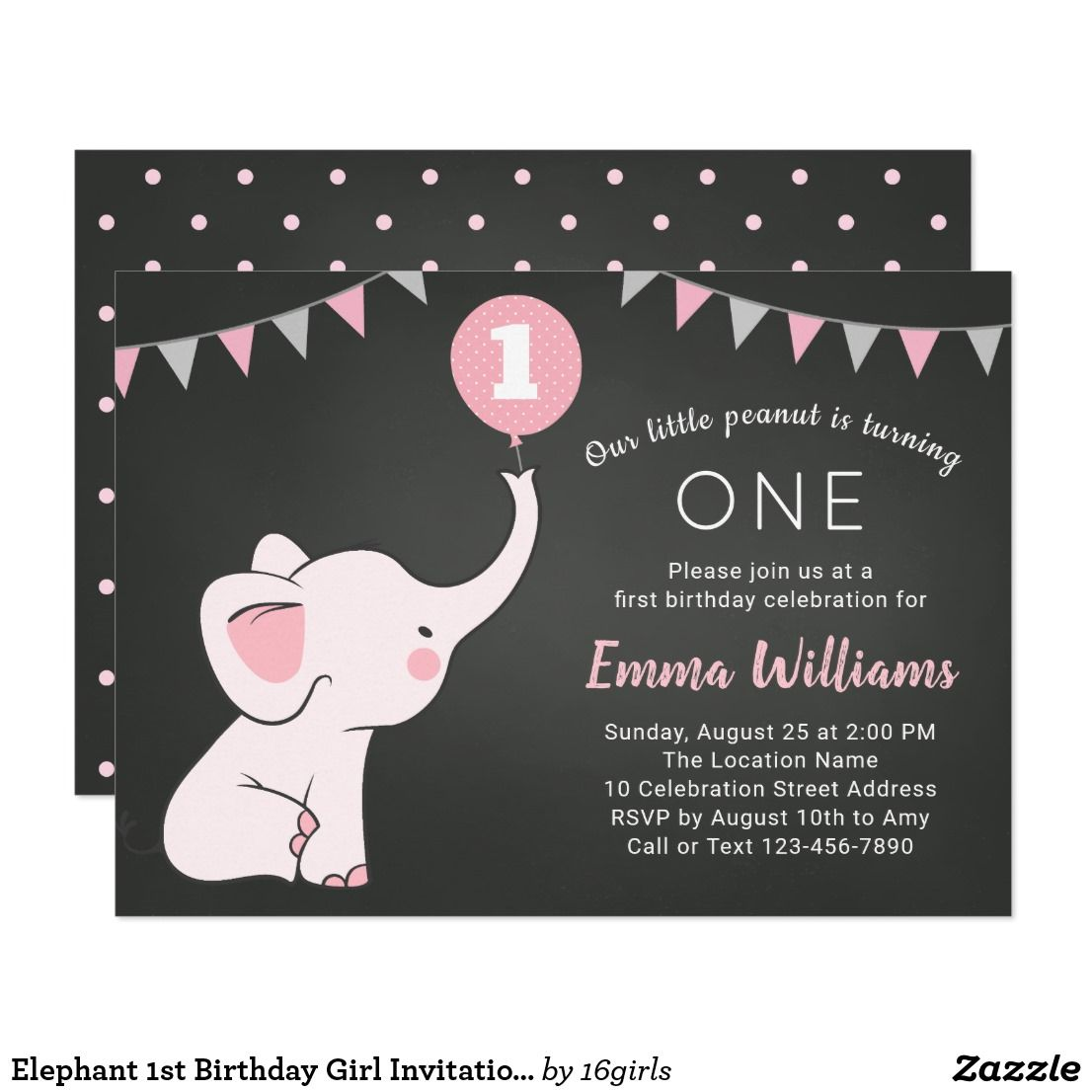 Elephant 1st Birthday Girl Invitation