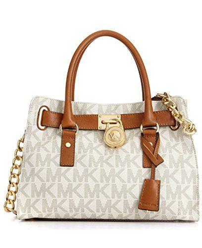 Michael Kors EW Satchel Women\u0027s MK Logo Handbag Tote Purse White MICHAEL  Michael Kors http: