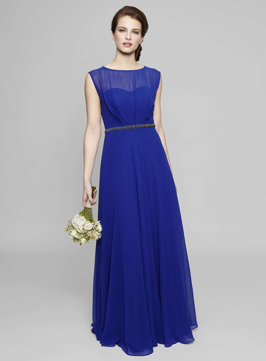 bateau neck cap sleeved long royal blue chiffon bridesmaid