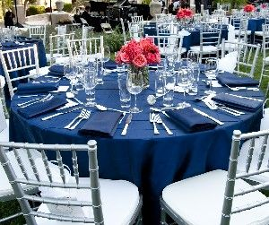 Lovely Blue Linen Table Setting With Silver Chairs  White Flowers Instead?