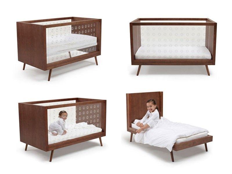 Ubabub Nifty Clear 3 In 1 Crib In Walnut Modern Baby Cribs Baby
