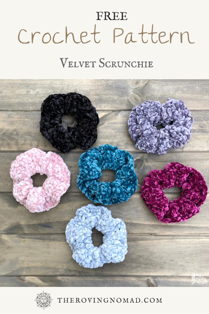 Soft Velvet Crocheted Scrunchies