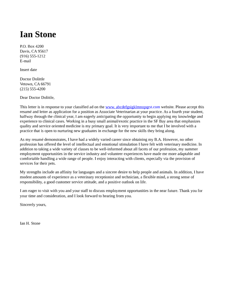 cover letter for resume veterinary technician write sample objective in career change harvard professional samples