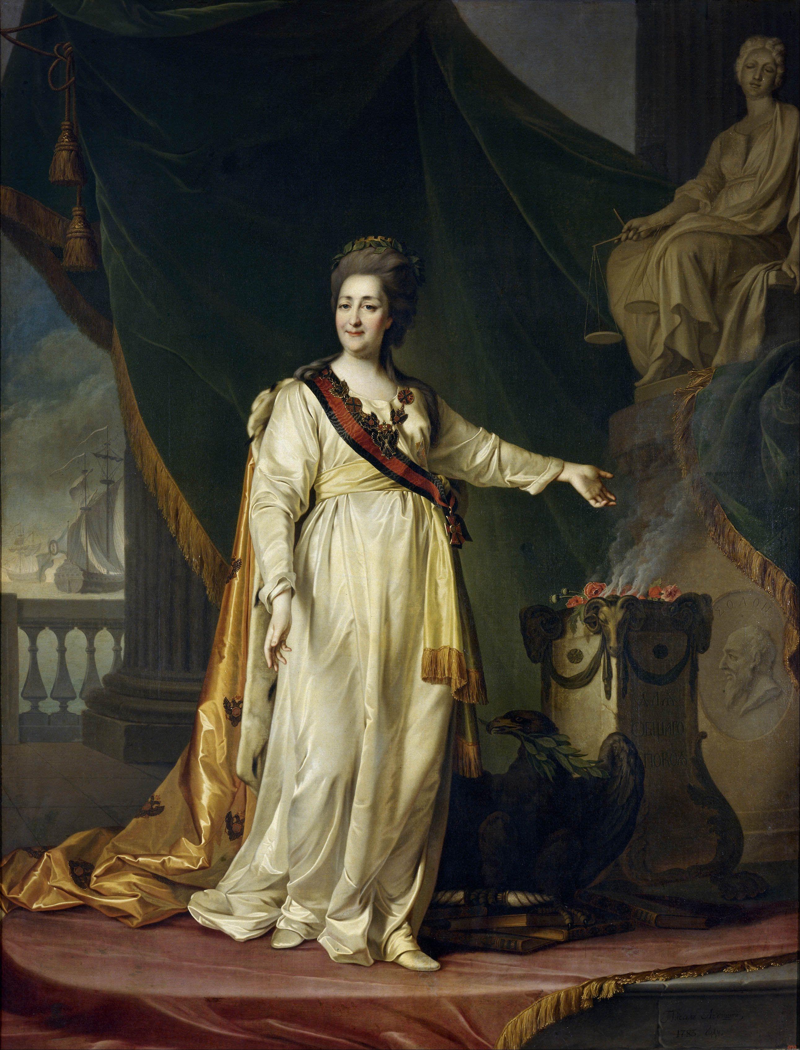 Dmitry Levitsky Portrait Of Catherine Ii The Legislatress In The Temple Of The Goddess Of Justice 1783 Catherine The Great Catherine Ii Goddess Of Justice