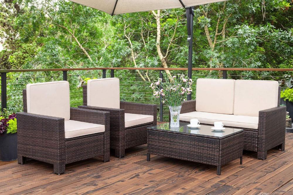 Walnew 4 Pieces Outdoor Patio Furniture Sets Rattan Chair Wicker Conversation Sofa Set Outdoor Indoor Backyard Porch Garden Poolside Balcony Use Furniture Bei In 2020 Outdoor Patio Furniture Sets Traditional Patio