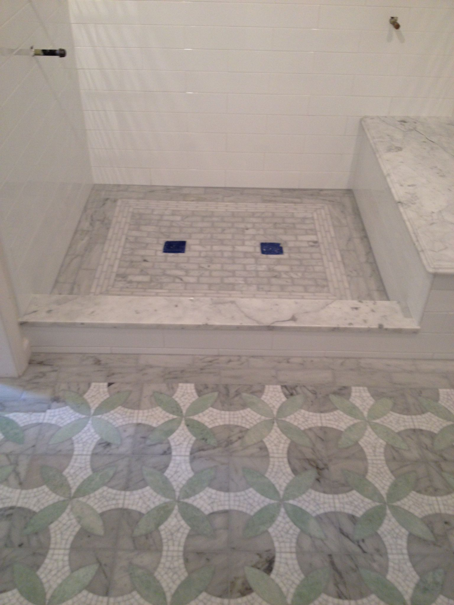 tile border bathroom master bath remodel in wellesley ma with 4x16 subway tile 14682