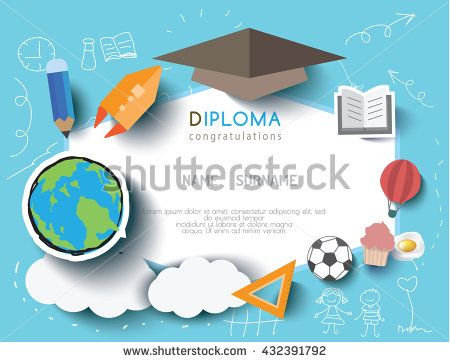 Kids Diploma Preschool Certificate Elementary School Design