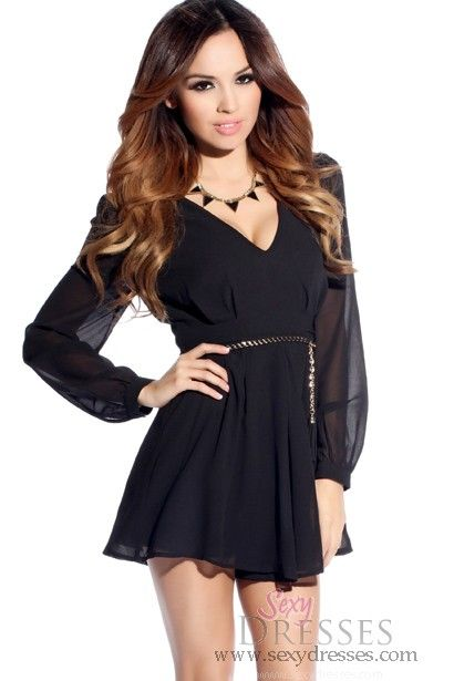 Bohemian Sheer Black Long Sleeve Mini Dress With Braided Belt