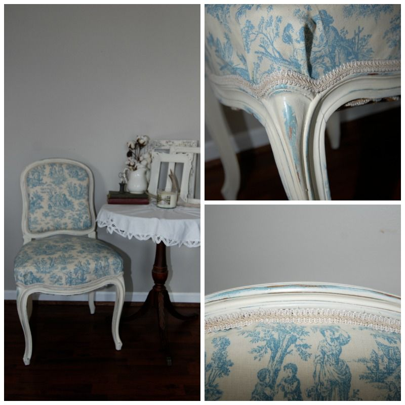 Reupholstered toile chair in ASCP Provence and old white @ Rebornrestorations.com