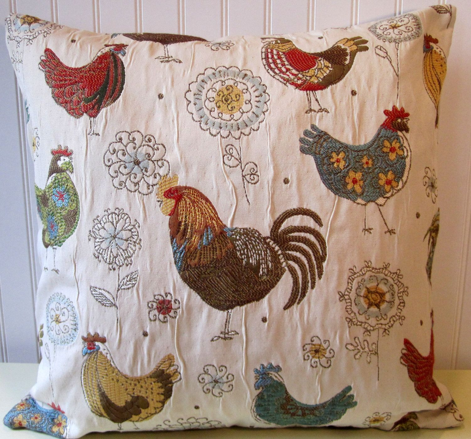 Decorative pillows with blue brown and yellow - Rooster Pillow Cover Country Decorative Throw Pillow Or Or Chickens Brown Blue Red Yellow Green