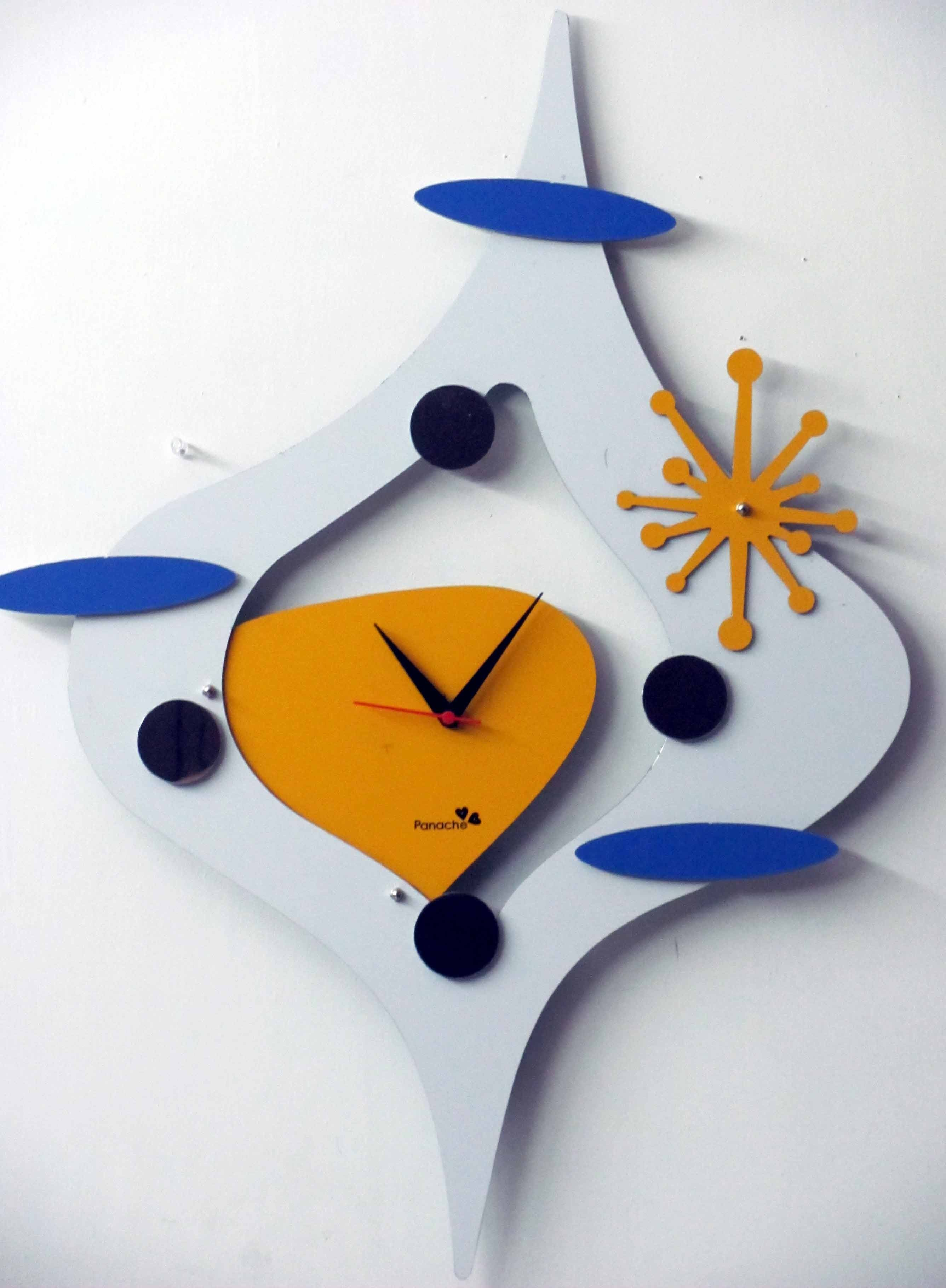 Funky Abstract Wall Clock in White Orange Color Stylish Wall