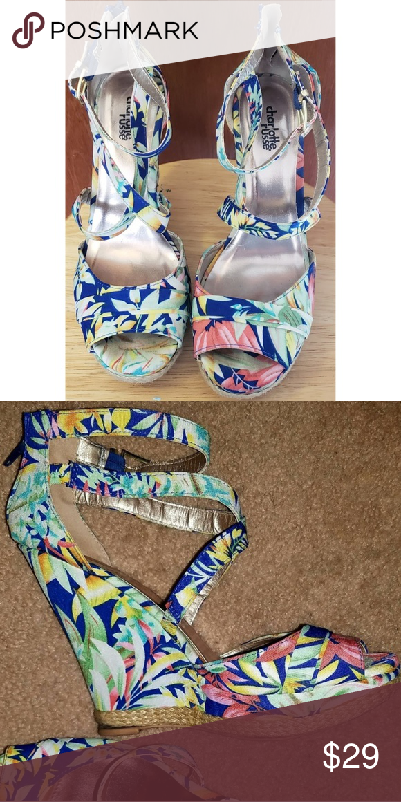 8241e464221273 Charlotte Russe Island Floral Wedges Charlotte Russe Island Floral Wedges  super cute to complement any outfit