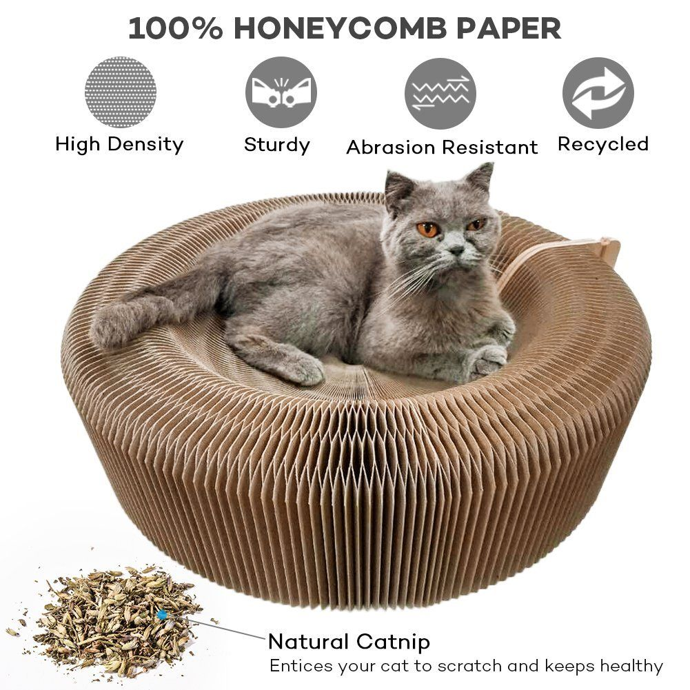 Cat Scratcher Lounge Collapsible Cardboard Scratcher Toy With Tinkle Ball And Catnip Portable High Density Recyc Cat Scratcher Cardboard Cat Scratcher Cat Toys